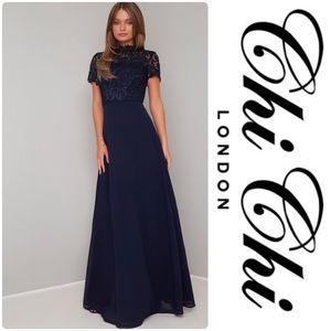 Chi Chi London Charissa Dress- Navy